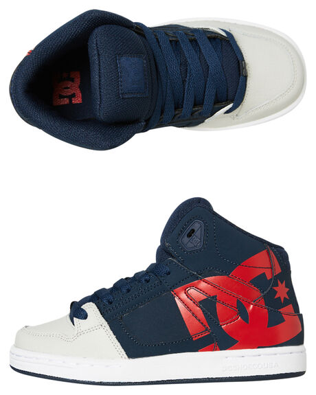 NAVY GREY KIDS BOYS DC SHOES SNEAKERS - ADBS100258NGH