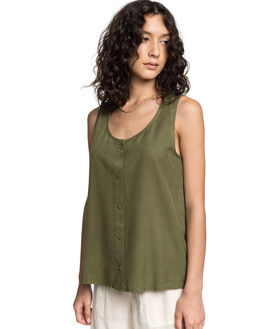 BURNT OLIVE WOMENS CLOTHING QUIKSILVER FASHION TOPS - EQWWT03032-GPZ0
