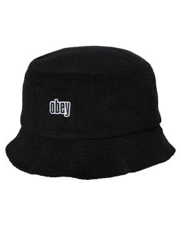 BLACK MENS ACCESSORIES OBEY HEADWEAR - 100520018BLK