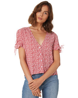 RED FLORAL WOMENS CLOTHING RUE STIIC FASHION TOPS - WS18-28-RF-PREDF