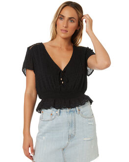 BLACK WOMENS CLOTHING SOMEDAYS LOVIN FASHION TOPS - IL18F2421BLK