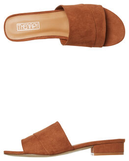 RUST SUEDE WOMENS FOOTWEAR THERAPY SLIDES - SOLE--6117RUST