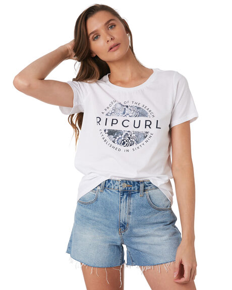 WHITE WOMENS CLOTHING RIP CURL TEES - GTEBY21000