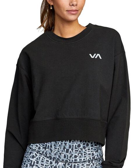 BLACK WOMENS CLOTHING RVCA HOODIES + SWEATS - RV-R417153-BLK