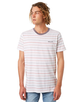 WHITE RED MENS CLOTHING ROLLAS TEES - 152973726