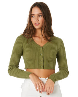 OLIVE WOMENS CLOTHING TWIIN KNITS + CARDIGANS - IE19S1804OLV