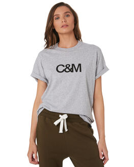 GREY MARLE W BLACK WOMENS CLOTHING C&M CAMILLA AND MARC TEES - VCMT7050GRYMA