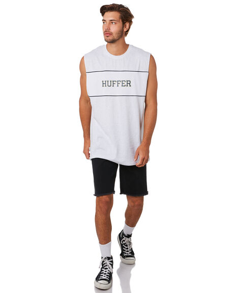 BLACK MENS CLOTHING HUFFER SINGLETS - MTA94S2202BLK