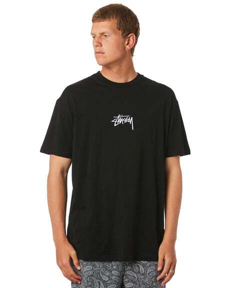 BLACK MENS CLOTHING STUSSY TEES - ST082000BLK