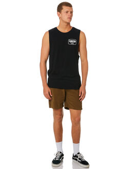 BLACK MENS CLOTHING THE LOBSTER SHANTY SINGLETS - LBSCOMUSBLK
