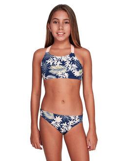 MED BLUE FULL FLORAL KIDS GIRLS ROXY SWIMWEAR - ERGX203204-BTE6