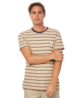 BEIGE STRIPE MENS CLOTHING BARNEY COOLS TEES - 108-MC2BSTRP