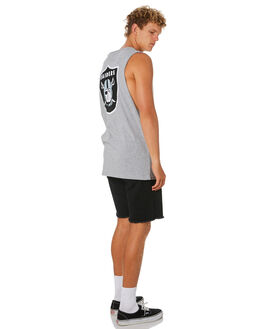 RAIDERS GREY MARLE MENS CLOTHING MAJESTIC SINGLETS - MOR7022E2GRY