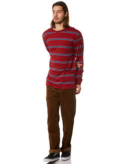BURGUNDY MENS CLOTHING BRIXTON TEES - 02259BUNAV