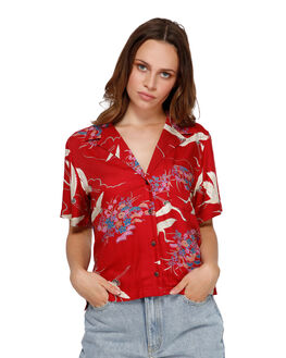 RED WOMENS CLOTHING RVCA FASHION TOPS - R291182RED