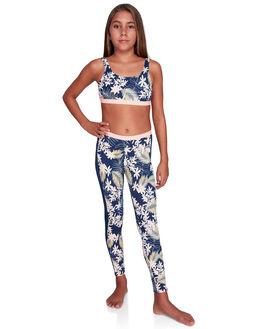 MED BLUE FLORAL KIDS GIRLS ROXY PANTS - ERGNP03043-BTE6