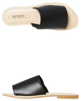 BLACK WOMENS FOOTWEAR HUMAN FOOTWEAR SLIDES - TRINITYBLK