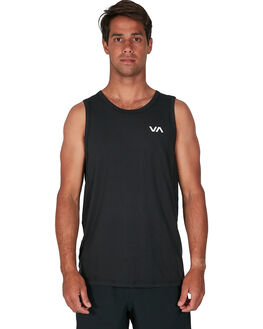 BLACK MENS CLOTHING RVCA SINGLETS - RV-R307001-BLK