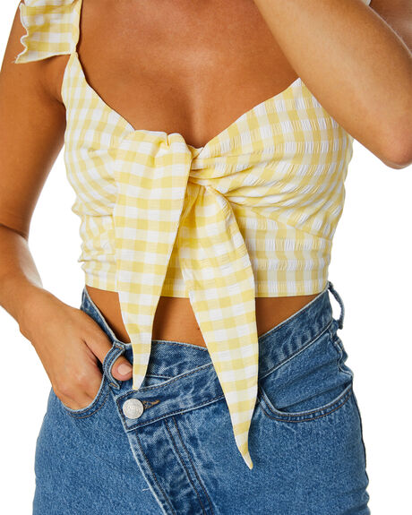 YELLOW GINGHAM OUTLET WOMENS SNDYS FASHION TOPS - SFT102GYGHN
