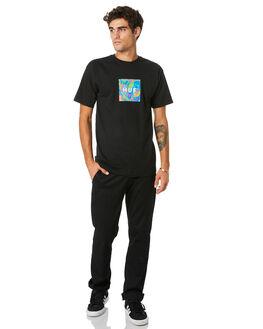 BLACK MENS CLOTHING HUF TEES - TS01021-BLACK