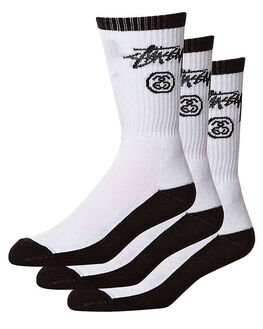 BLACK WHITE MENS CLOTHING STUSSY SOCKS + UNDERWEAR - ST746012BLKWH