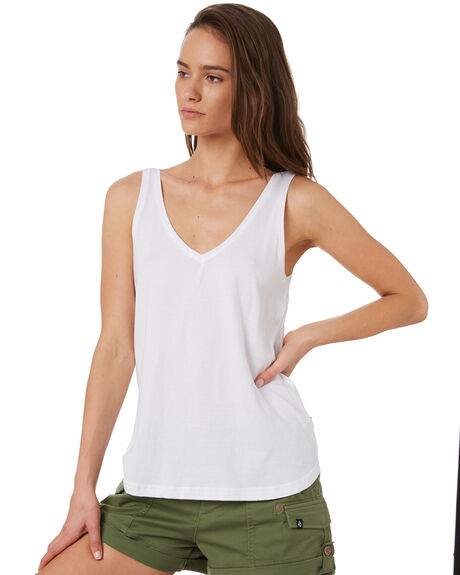 WHITE WOMENS CLOTHING SILENT THEORY SINGLETS - 6008000WHT