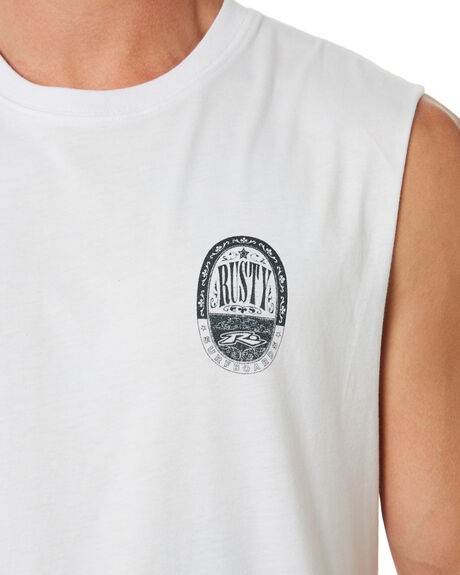 WHITE MENS CLOTHING RUSTY SINGLETS - MSM0273WHT
