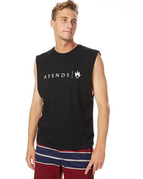 BLACK MENS CLOTHING AFENDS SINGLETS - 01-08-007BLK