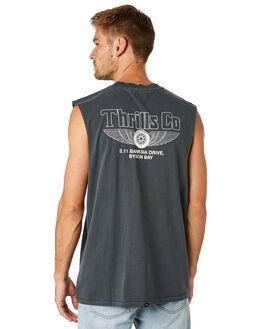 MERCH BLACK MENS CLOTHING THRILLS SINGLETS - TS8-119MBMCBLK