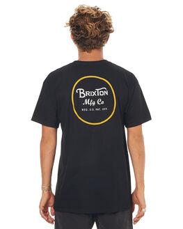 BLACK YELLOW MENS CLOTHING BRIXTON TEES - 06452BKYEL