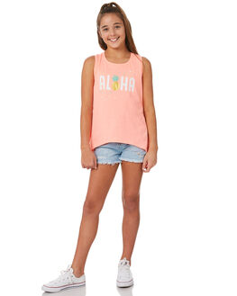 NEON CORAL KIDS GIRLS EVES SISTER SINGLETS - 9920024NCRL