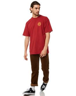 BURGUNDY MENS CLOTHING BRIXTON TEES - 06519BUGLD