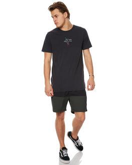 WASHED BLACK MENS CLOTHING GLOBE TEES - GB01710012WBLK