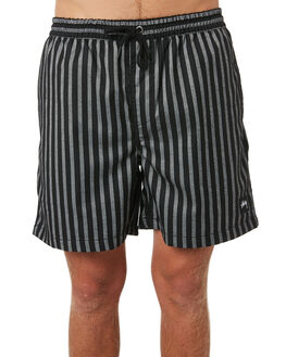 BLACK WHITE MENS CLOTHING STUSSY SHORTS - ST095612BLKWHT