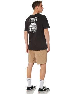 BLACK MENS CLOTHING RVCA TEES - R182041BLK