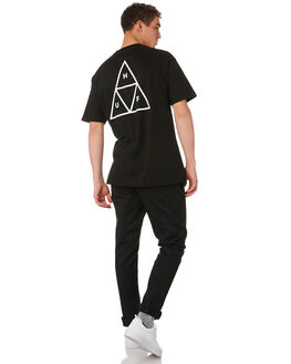BLACK MENS CLOTHING HUF TEES - TS00509-BLACK