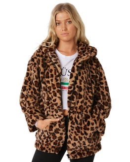 LEOPARD WOMENS CLOTHING STUSSY JACKETS - ST187708LEO