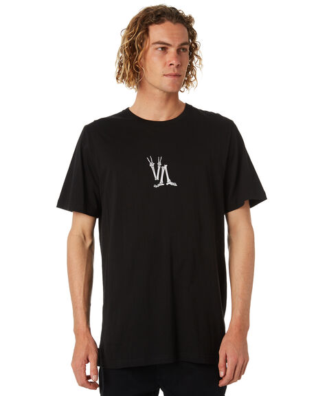 BLACK MENS CLOTHING RVCA TEES - R184046BLK
