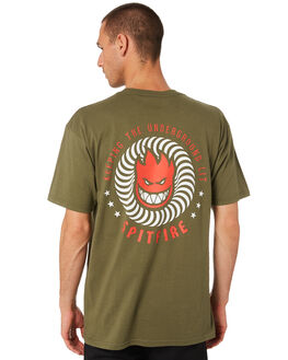 MILITARY GREEN MENS CLOTHING SPITFIRE TEES - 51010438PMGRN