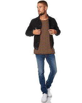 BLACK RINSED MENS CLOTHING NUDIE JEANS CO JACKETS - 160495BLKR
