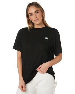 BLACK WOMENS CLOTHING STUSSY TEES - ST191002BLK