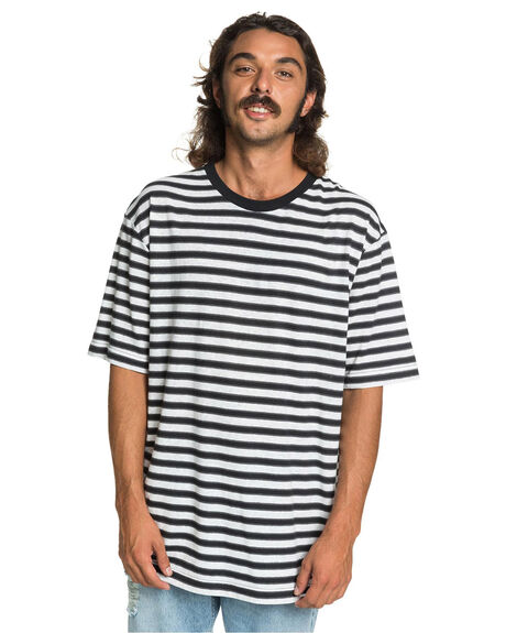 BLACK LINEN STRIPE MENS CLOTHING QUIKSILVER TEES - EQYKT03989-KVJ3