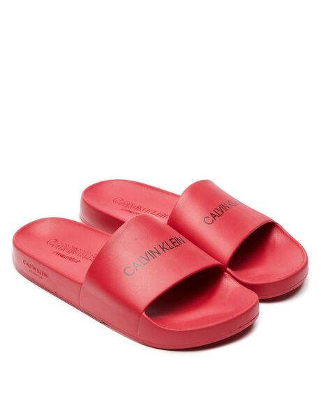 LIPSTICK RED MENS FOOTWEAR CALVIN KLEIN SLIDES - KM00375654