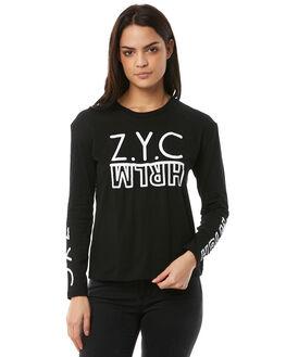 BLACK WOMENS CLOTHING ZOO YORK TEES - ZY-WLA8342BLK