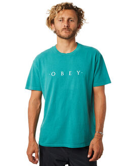 DUSTY TEAL MENS CLOTHING OBEY TEES - 166721578DTBLU