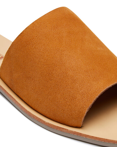 TOFFEE SUEDE OUTLET WOMENS SOL SANA SLIDES - SS202S313TOFS
