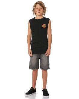 BLACK KIDS BOYS SANTA CRUZ SINGLETS - SC-YTC8105BLK