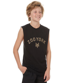 BLACK KIDS BOYS ZOO YORK SINGLETS - ZY-YTC7137BLK