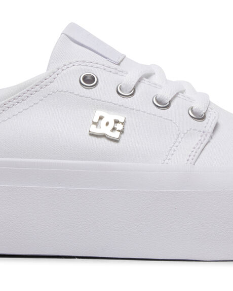 WHITE/SILVER WOMENS FOOTWEAR DC SHOES SNEAKERS - ADJS300196-WS4