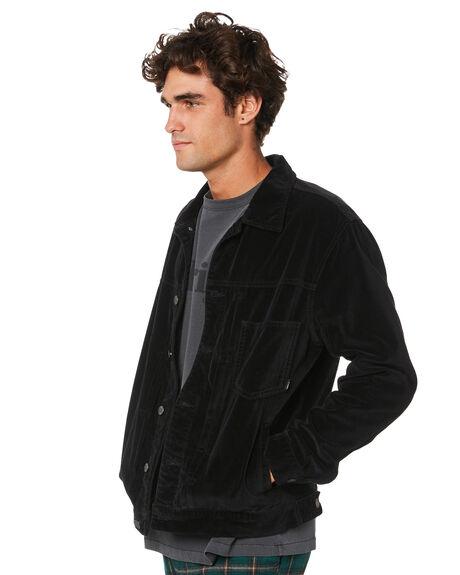 BLACK MENS CLOTHING THRILLS JACKETS - TA21-219BBLK
